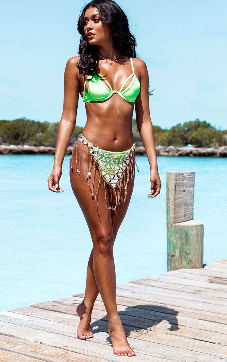 Neon Green Velvet High Leg Bikini Bottom