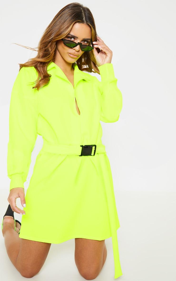 Petite - Robe chemise cargo vert citron fluo à ceinture 1