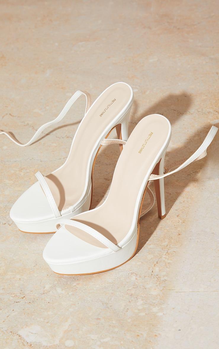 White Wide Fit PU Platform Strappy High Heels 3