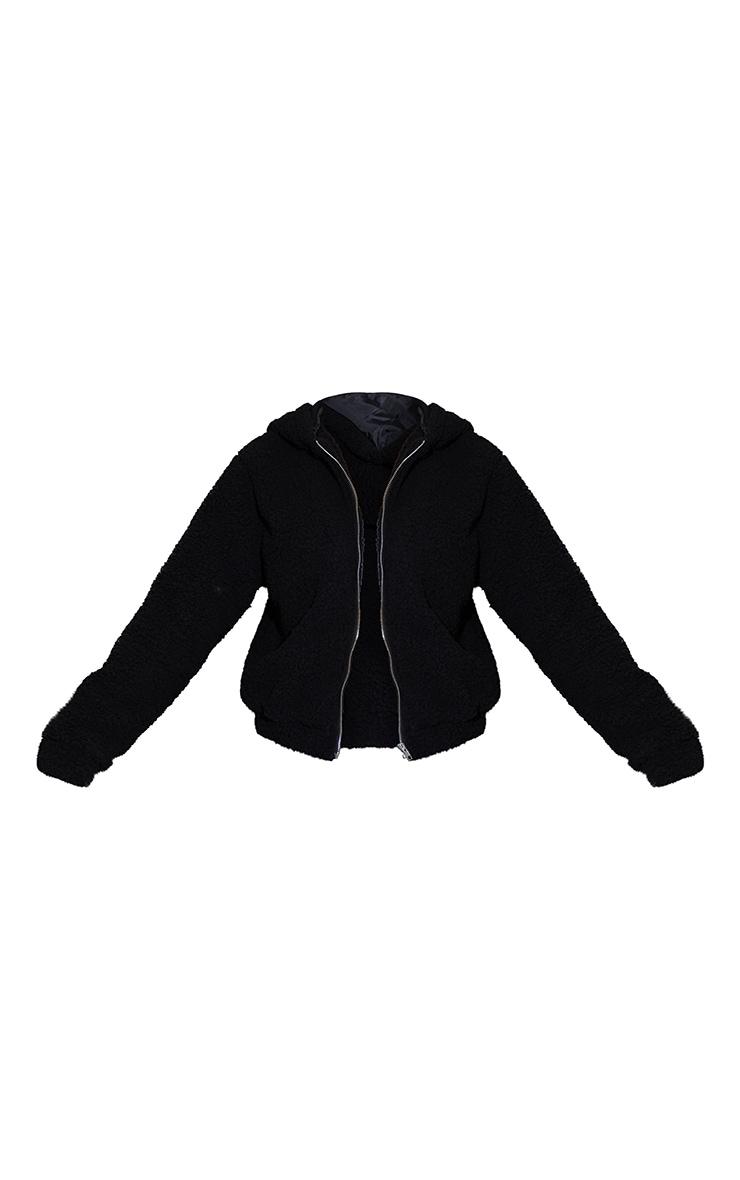 Black Teddy Hooded Zip Up Jacket 5