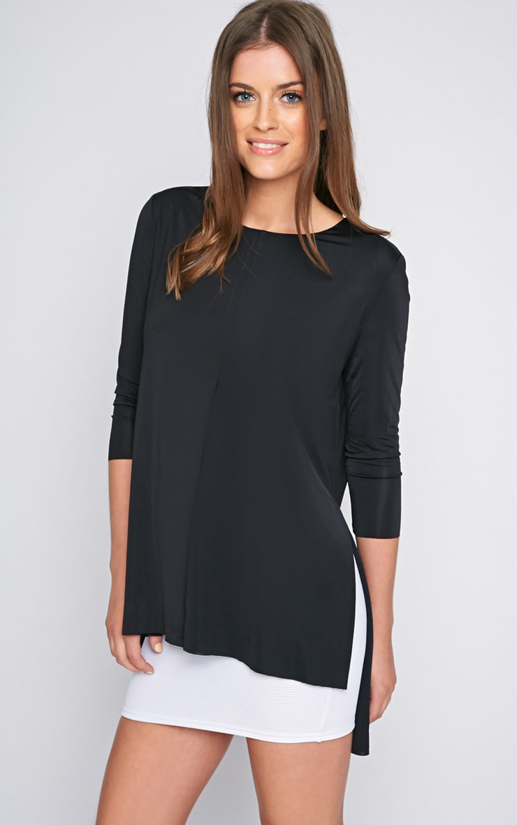 Chantal Black Satin Split Layered Top 4