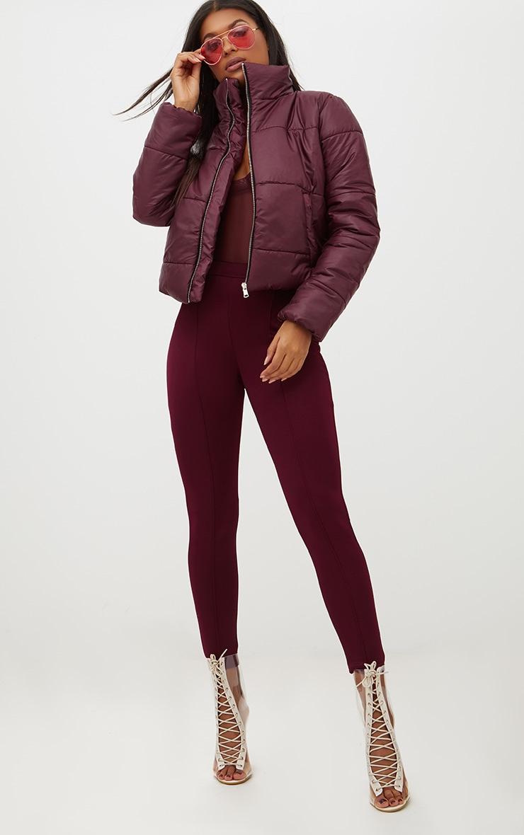 Burgundy High Shine Cropped Puffer Jacket 4