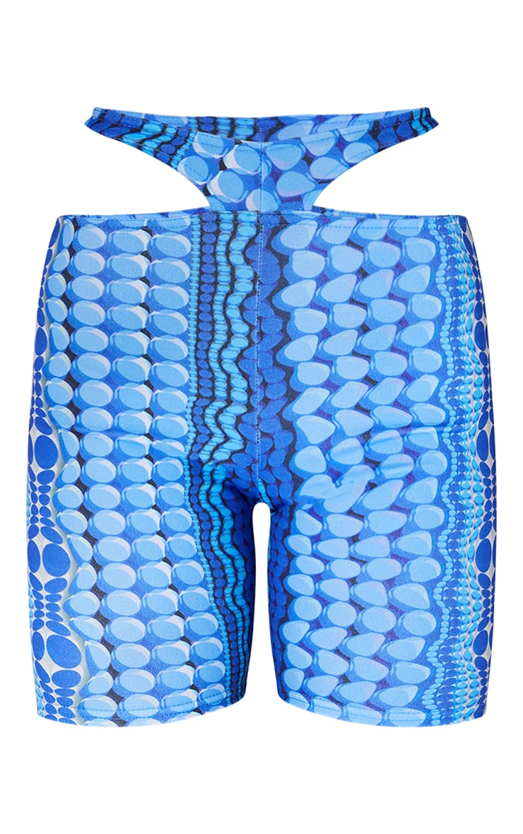 Blue Abstract Thong Detail Cut Out Runner Shorts 6