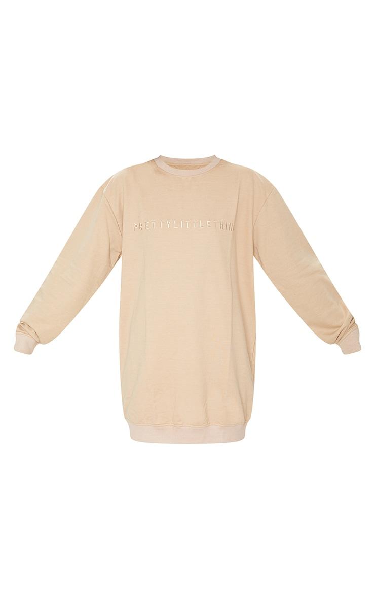 PrettyLittleThing Stone Slogan Sweat Sweater Dress 5