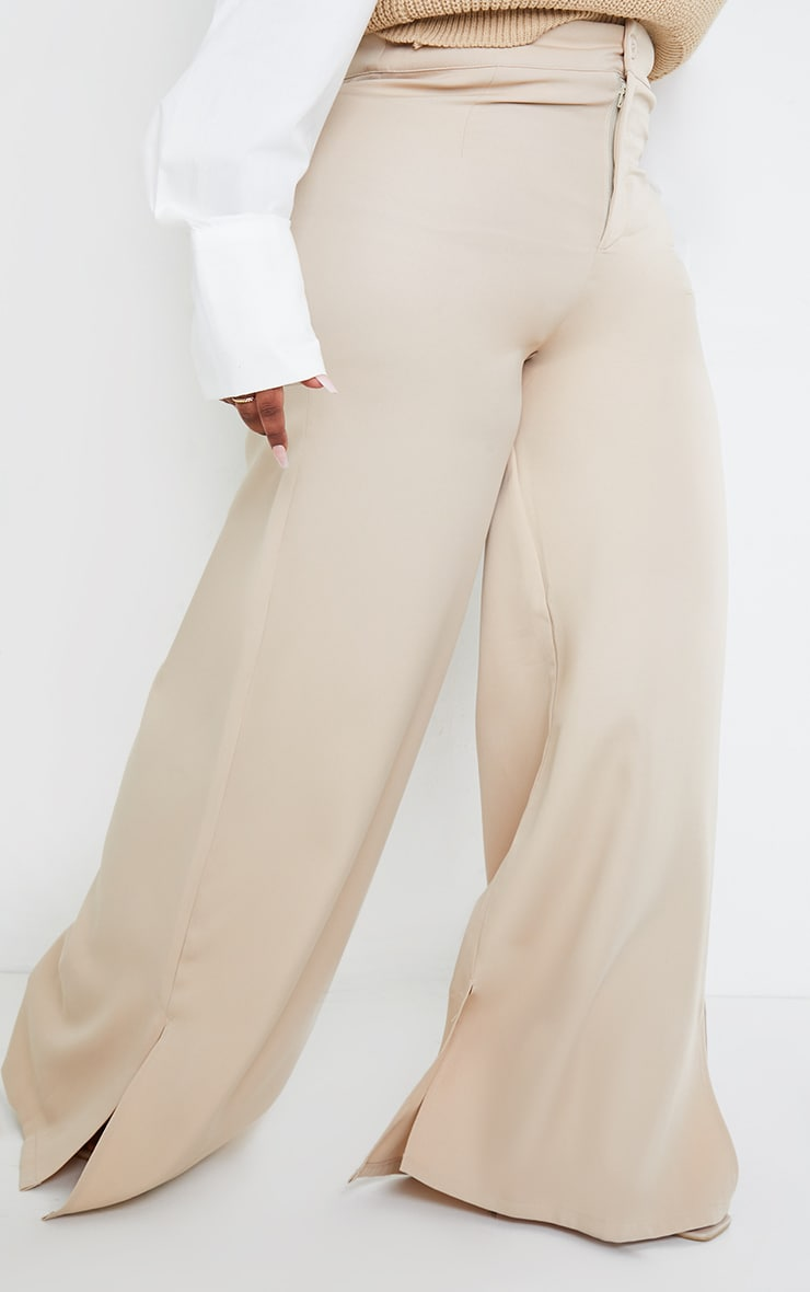 Plus Stone Satin Wide Leg Split Hem Pants 2