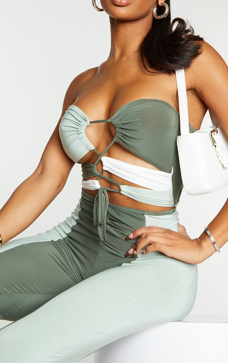 Shape Sage Green Slinky Colour Block Cut Out Jumpsuit 4
