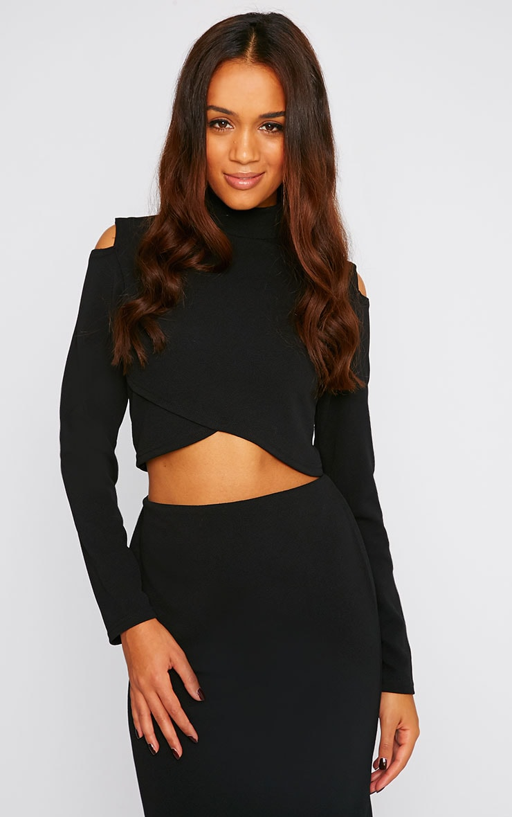Alina Black Crepe Cut Out Wrap Over Turtle Neck Crop Top 4