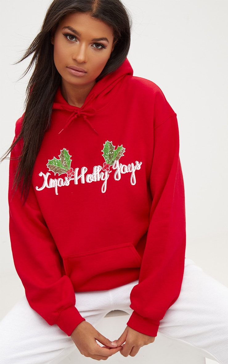 Red Happy Holly Yays Christmas Slogan Hoodie 1