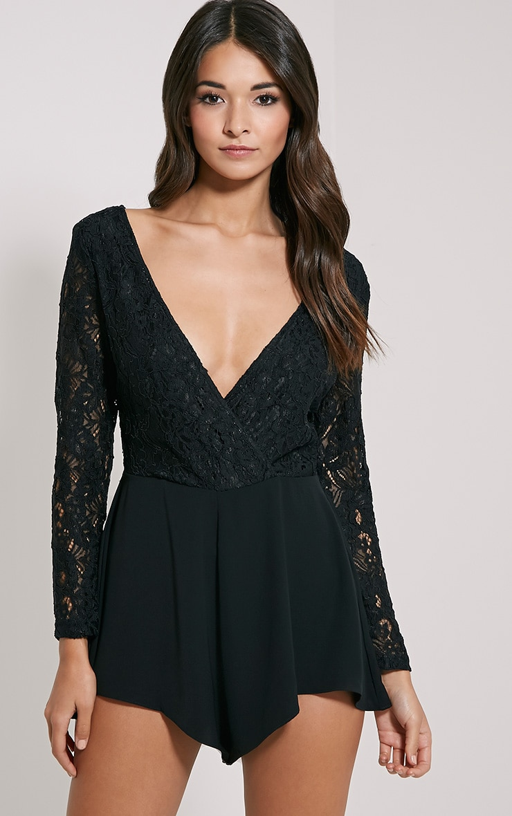 Angelica Black Lace Up Back Playsuit 4