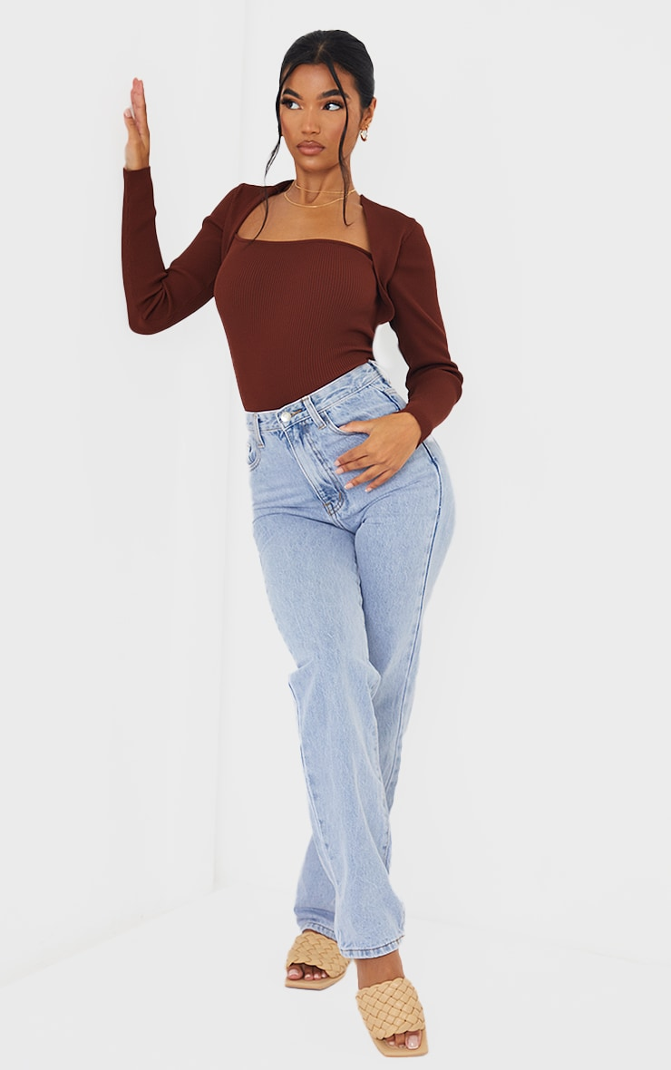 Chocolate Ribbed Knitted Long Sleeve Top 3
