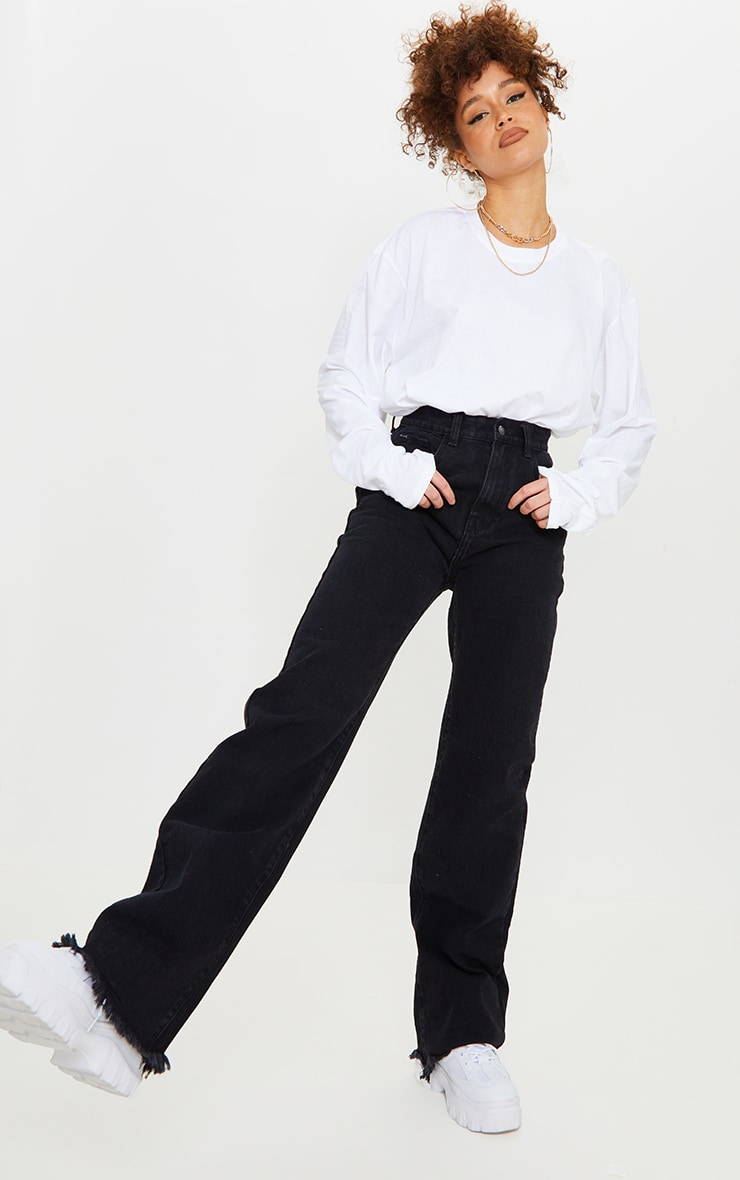 Washed Black Frayed Hem Wide Leg Jeans