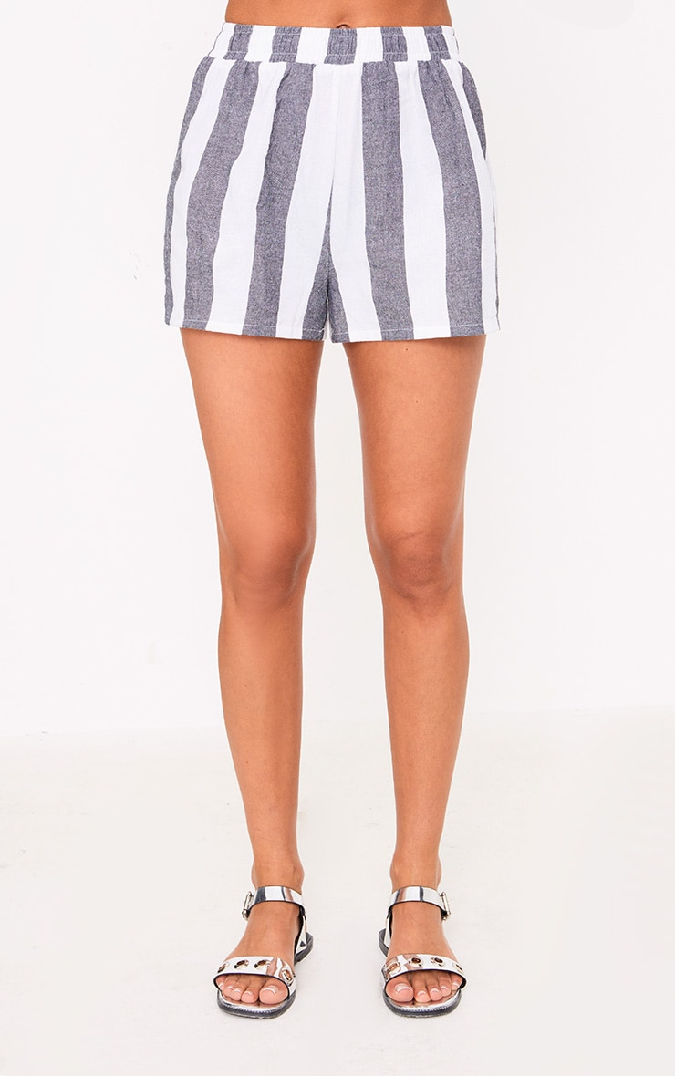 Grey Bold Stripe Beach Shorts 2