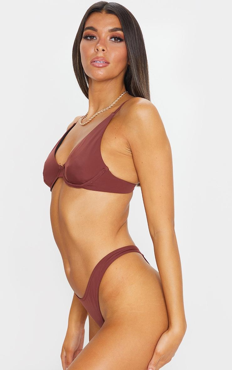 Bas de maillot de bain string marron 2