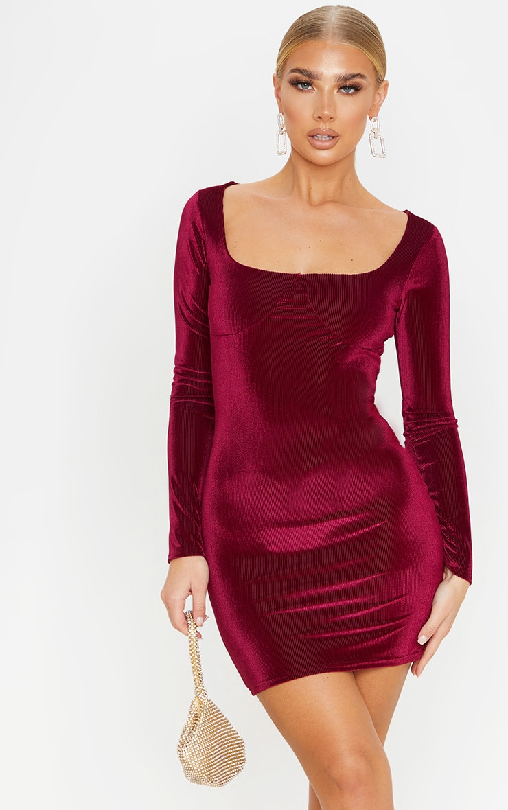 Burgundy Velvet Rib Cup Detail Long Sleeve Bodycon Dress 1