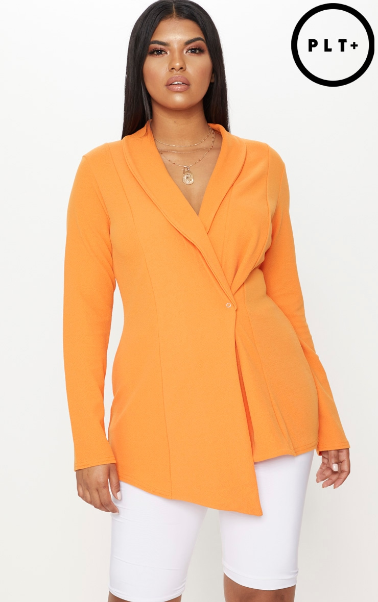 Plus Orange Wrap Detail Blazer 1