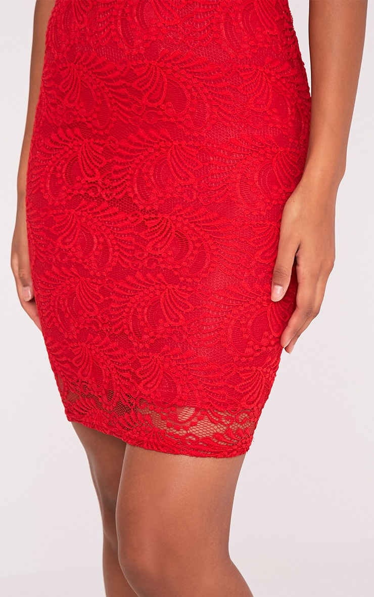Lucila Red Sheer Lace Bodycon Dress 7