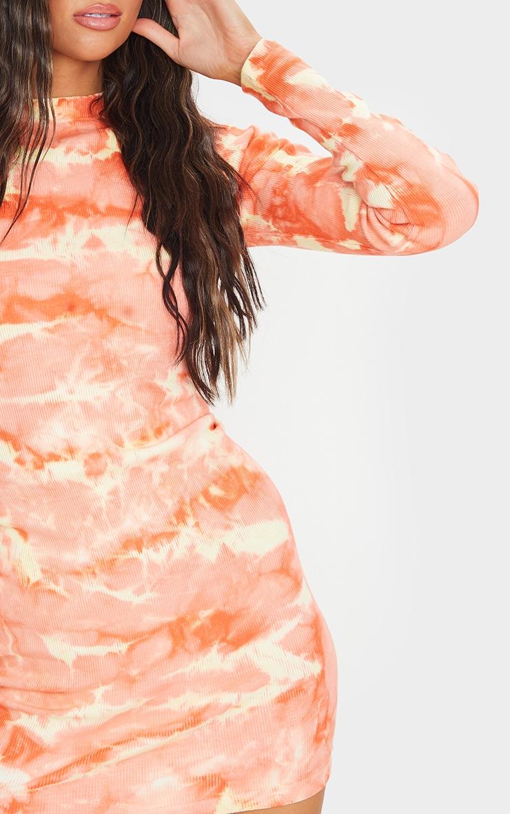 Peach Tie Dye Ribbed Long Sleeve High Neck Bodycon Dress 4