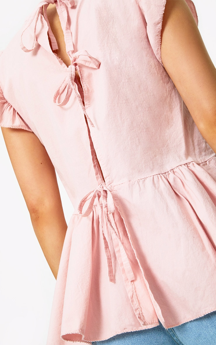 Pink Frill Shoulder Tie Back Shirt 4
