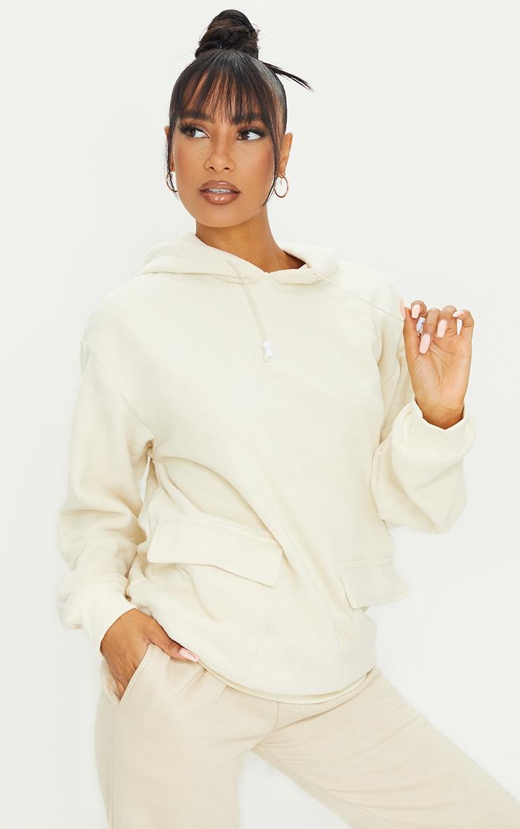 Ecru Fleece Oversized Pocket Sweatshirt 3