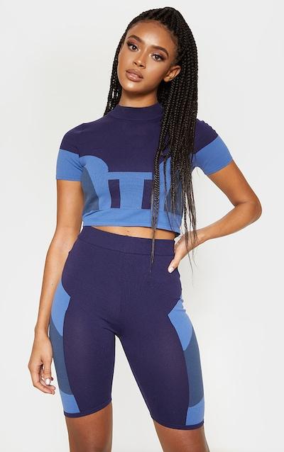 Blue Seamless Knit Short Sleeve Gym Top