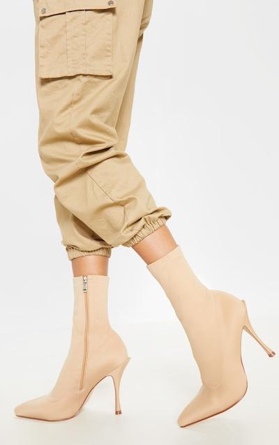 Nude Mid Flared Heel Sock Boot