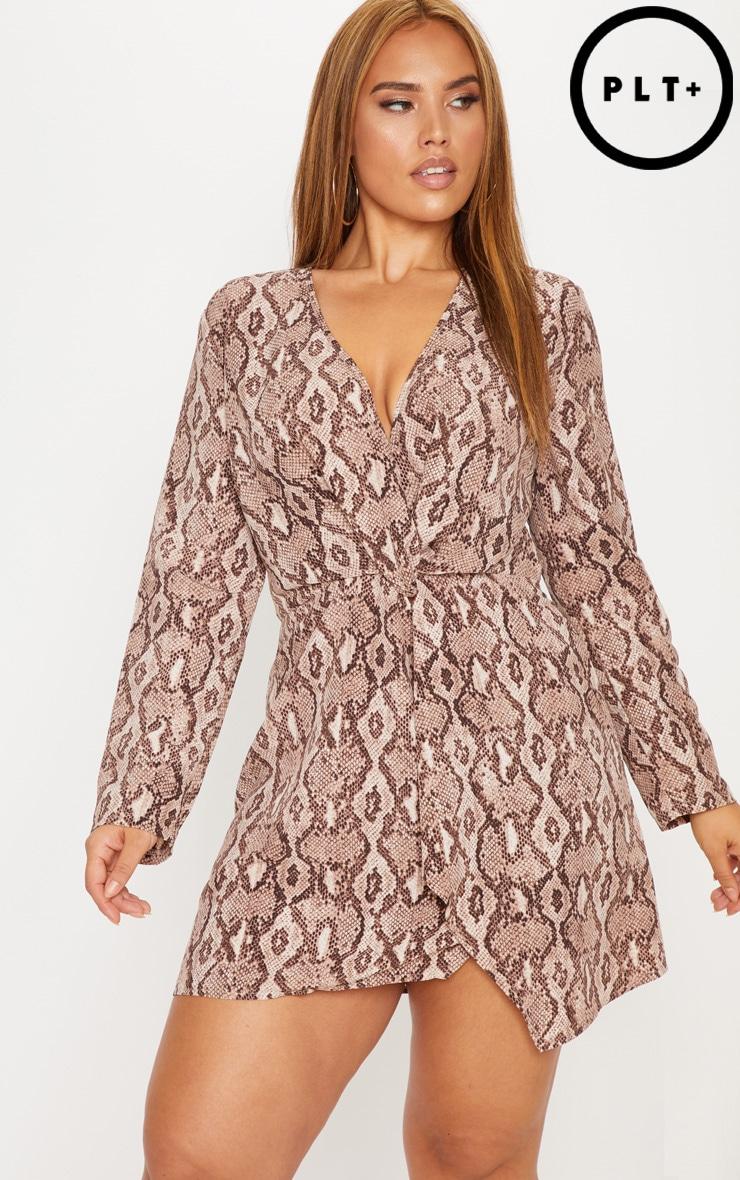 Plus Taupe Snake Print Long Sleeve Wrap Dress