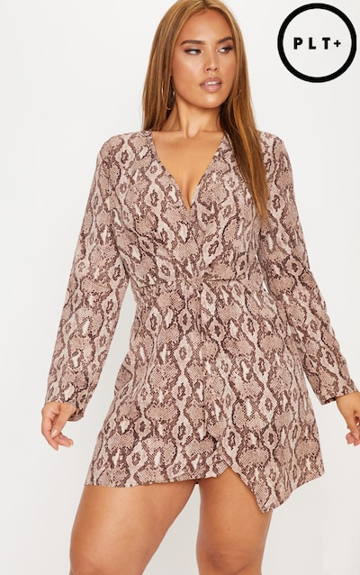be5bba59db5 Plus Taupe Snake Print Long Sleeve Wrap Dress