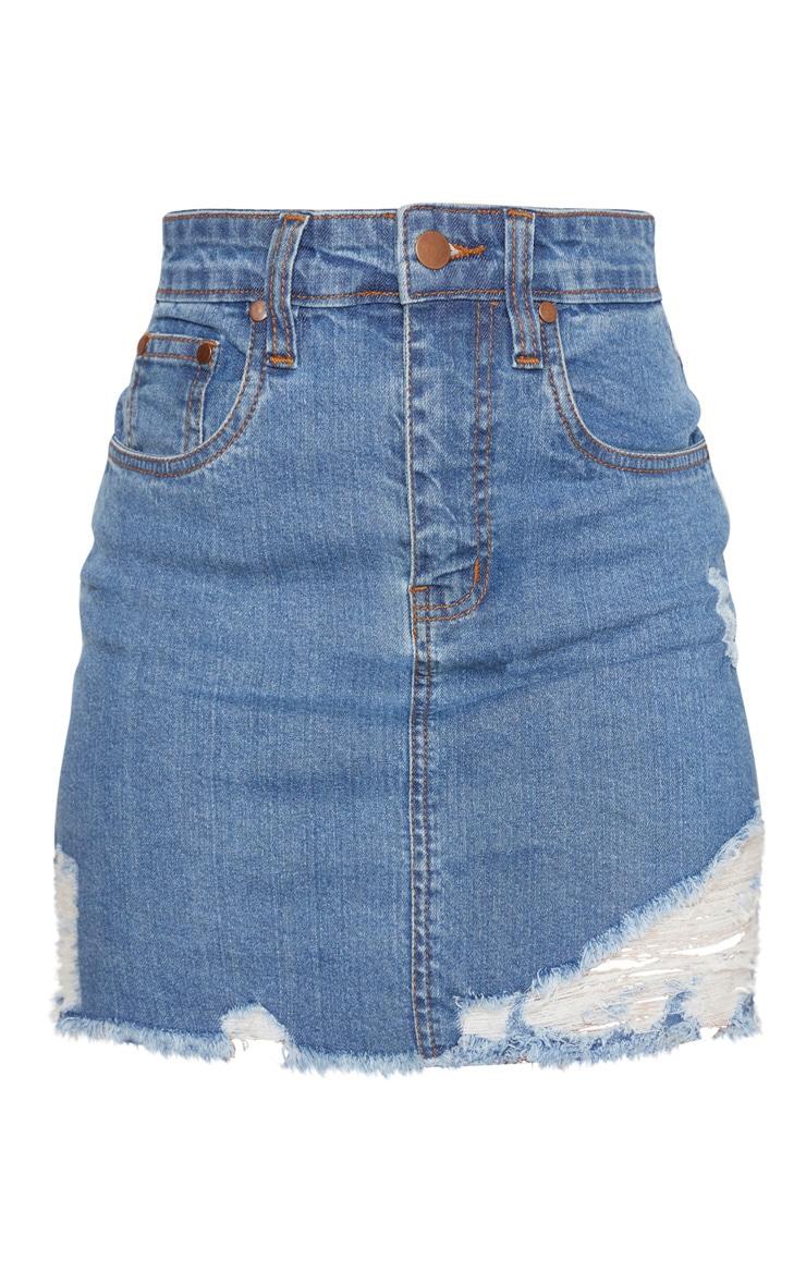 Petite Blue Mid Wash Stretch Denim Skirt 3
