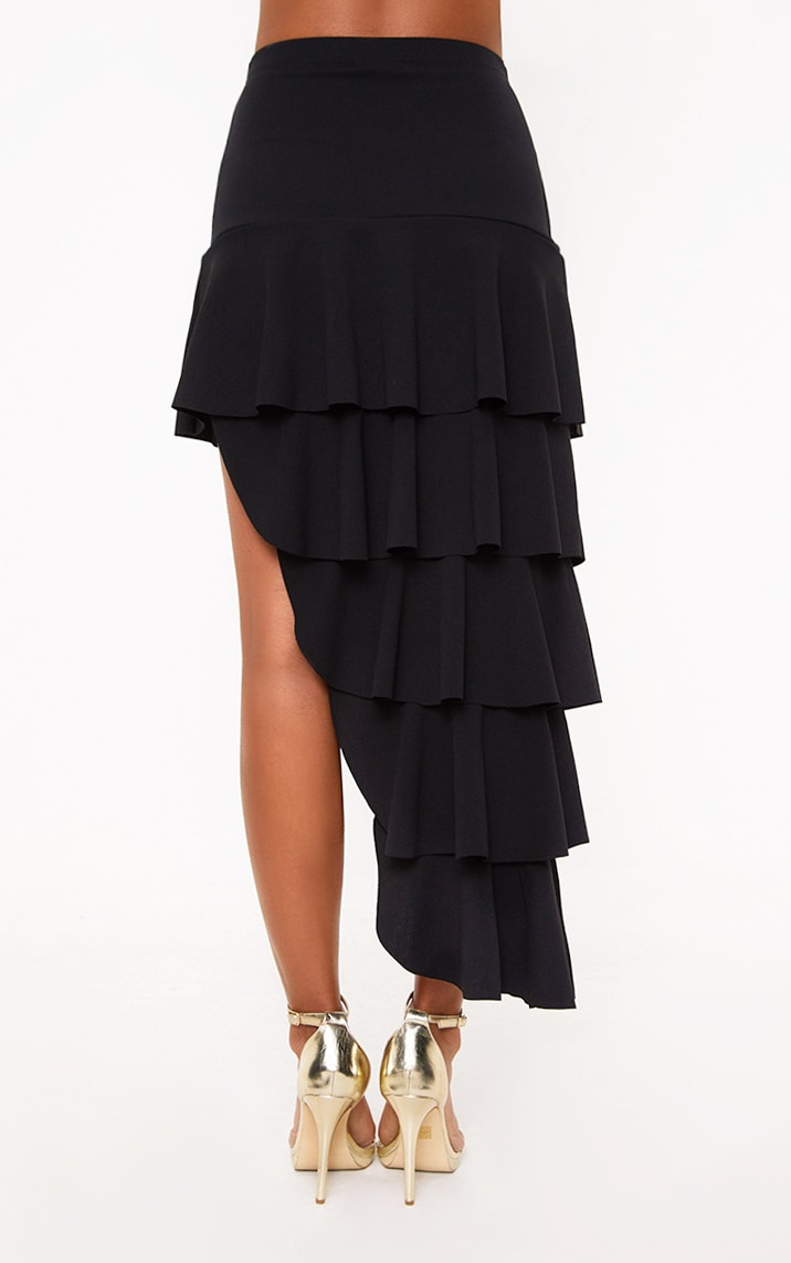 Black Tiered Split Midi Skirt 4