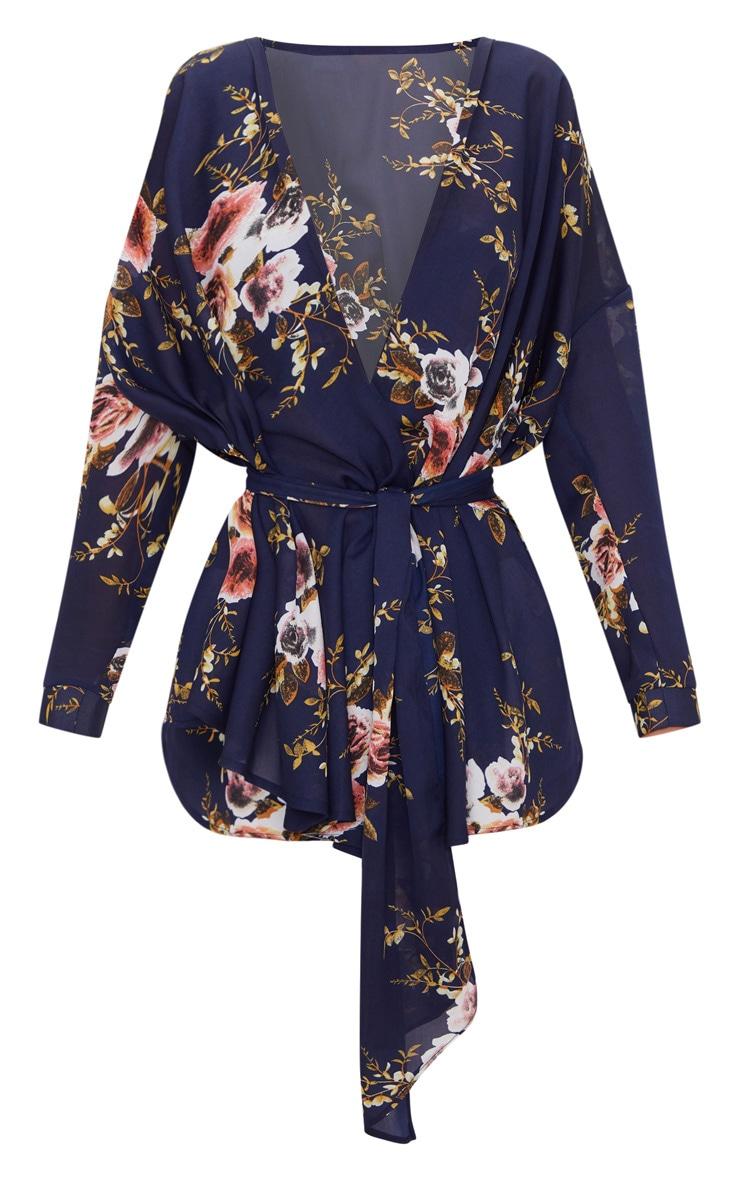 Navy Floral Print Tie Waist Blouse  3