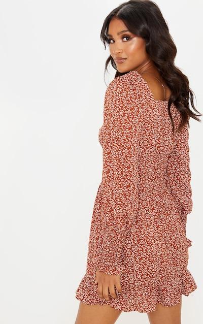 Brown Ditsy Floral Shirred Waist Frill Hem Shift Dress