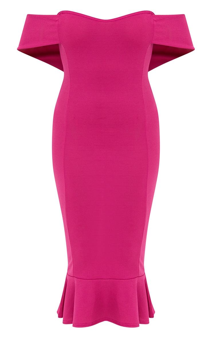 Fuchsia Pink Bardot Frill Hem Midi Dress 3