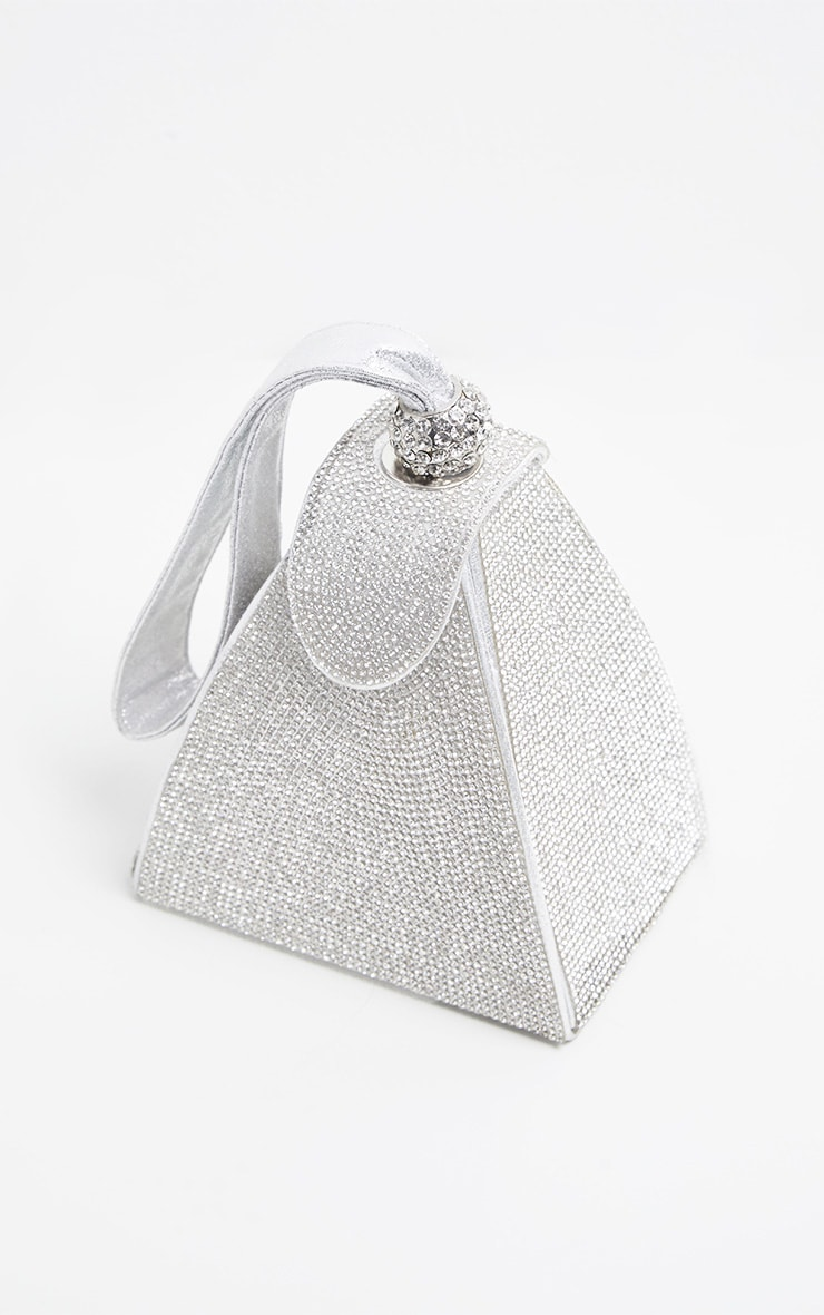 Silver Diamante Pyramid Mini Bag 3