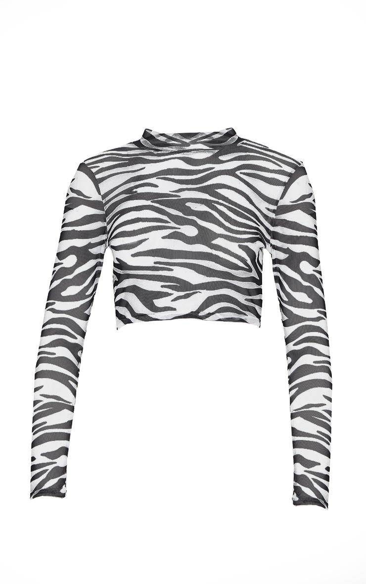 Black Zebra Printed Mesh High Neck Crop Top 3