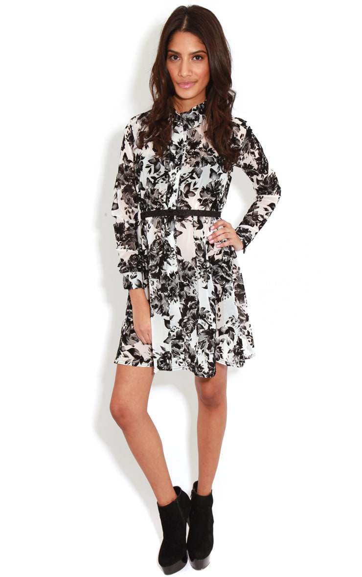 Brianna Monochrome Floral Shirt Dress -16 3
