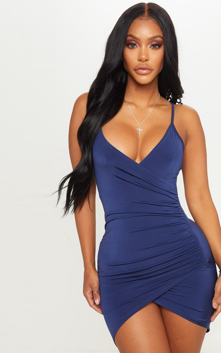 Shape Navy Ruched Side Strappy Bodycon Dress 1