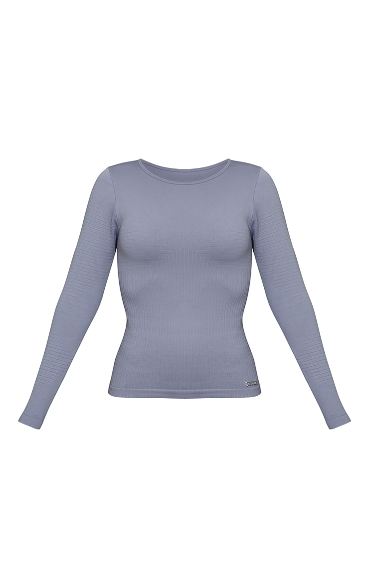 Steel Blue Seamless Rib Long Sleeve Sports Top 5