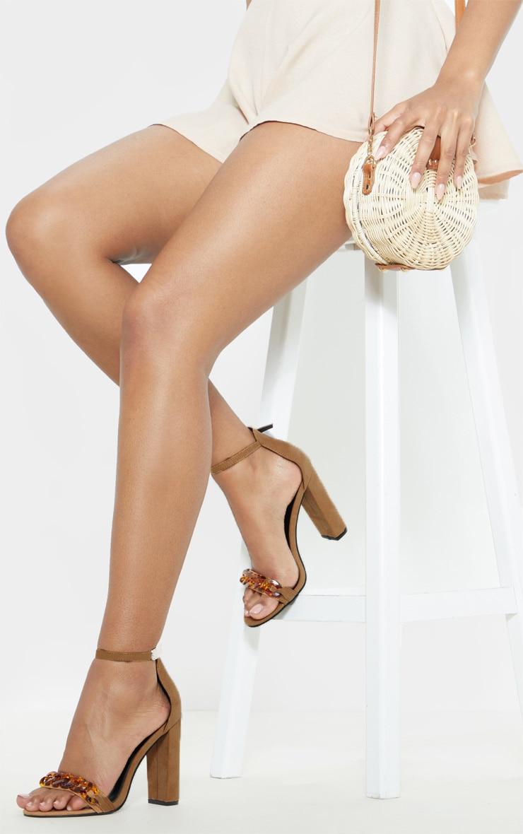 Sand Tortoise Chain Detail Block Heel Sandal  1