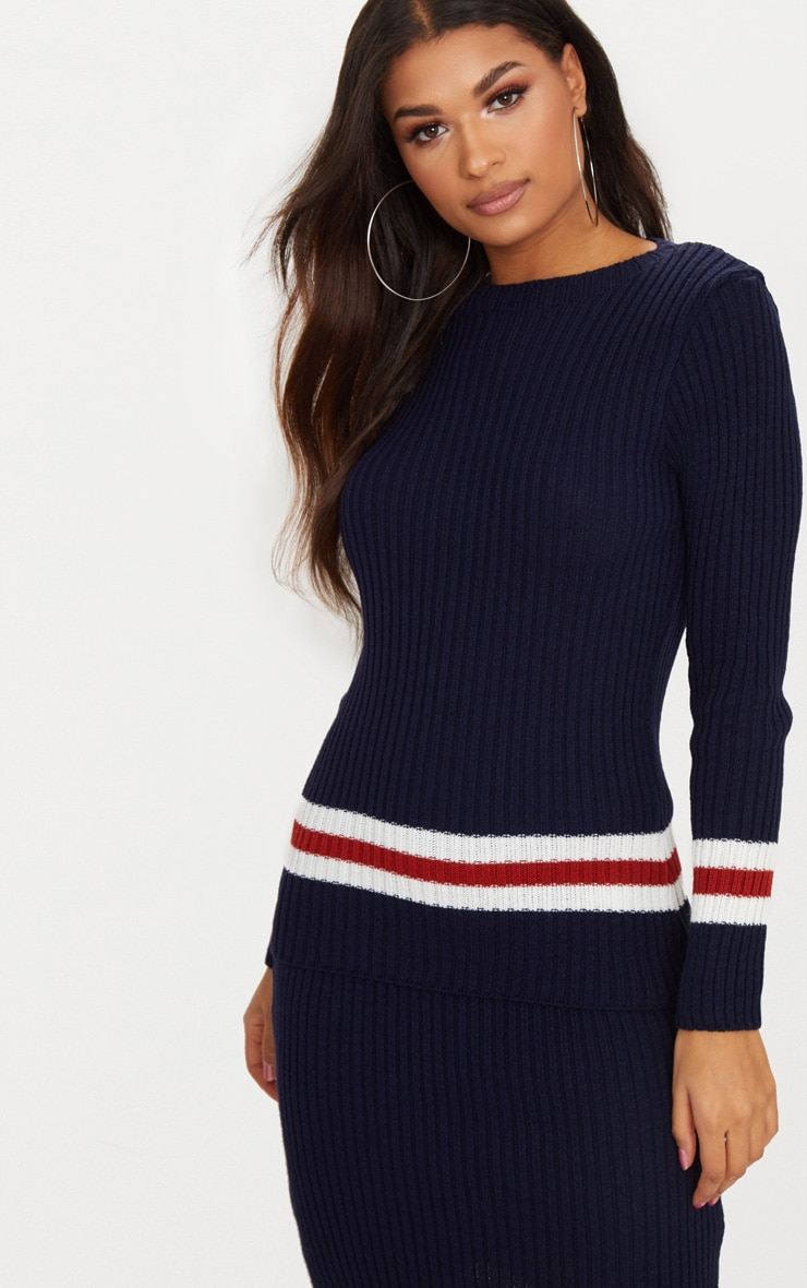 Navy Sports Stripe Rib Jumper