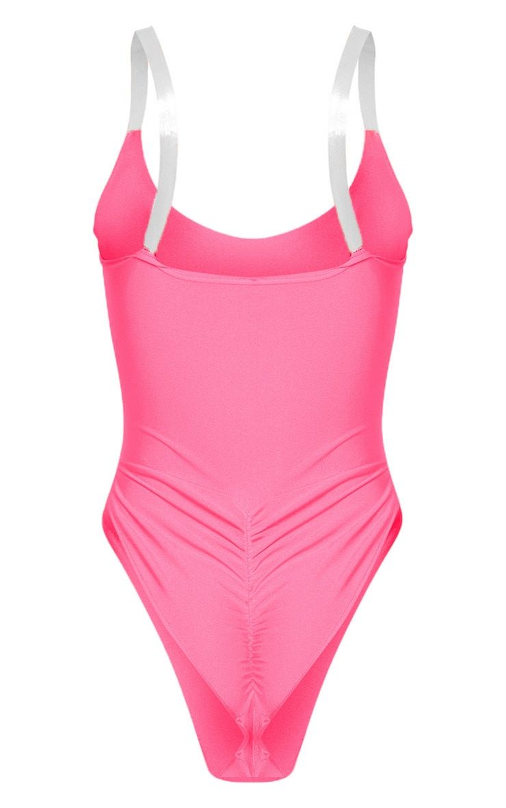 Neon Pink Clear Strap Scoop Swimsuit 8
