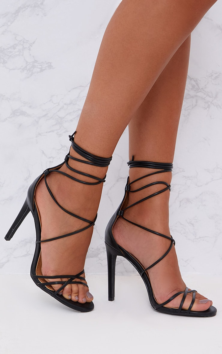 Elaine Black Lace Up Strappy Heels