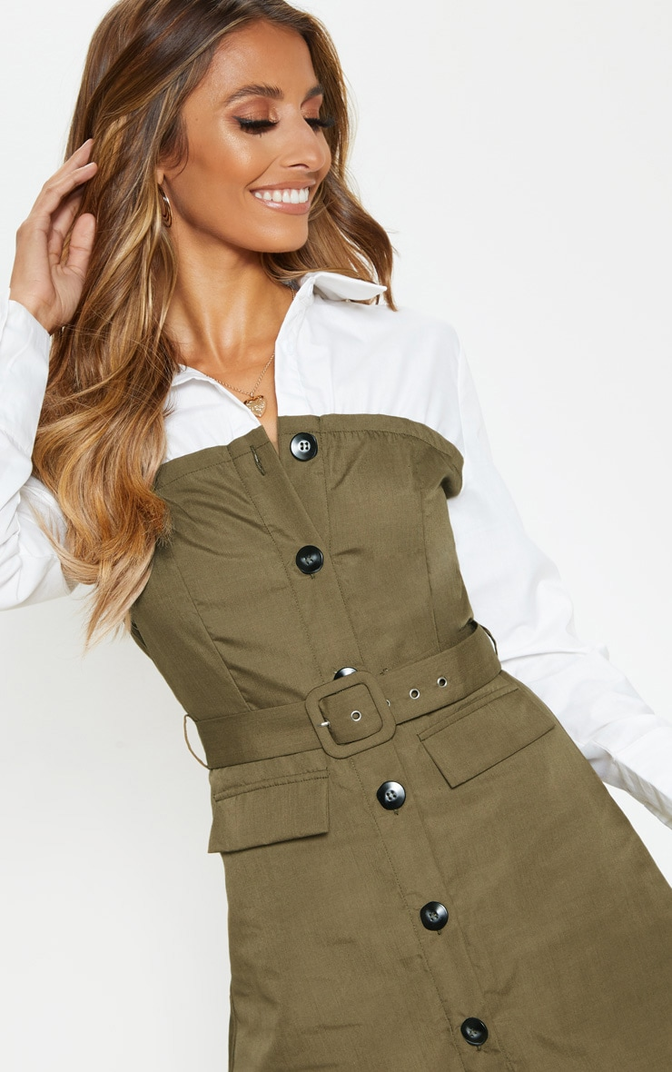 Khaki Bandeau Contrast Buttons Belted Shirt Dress 5