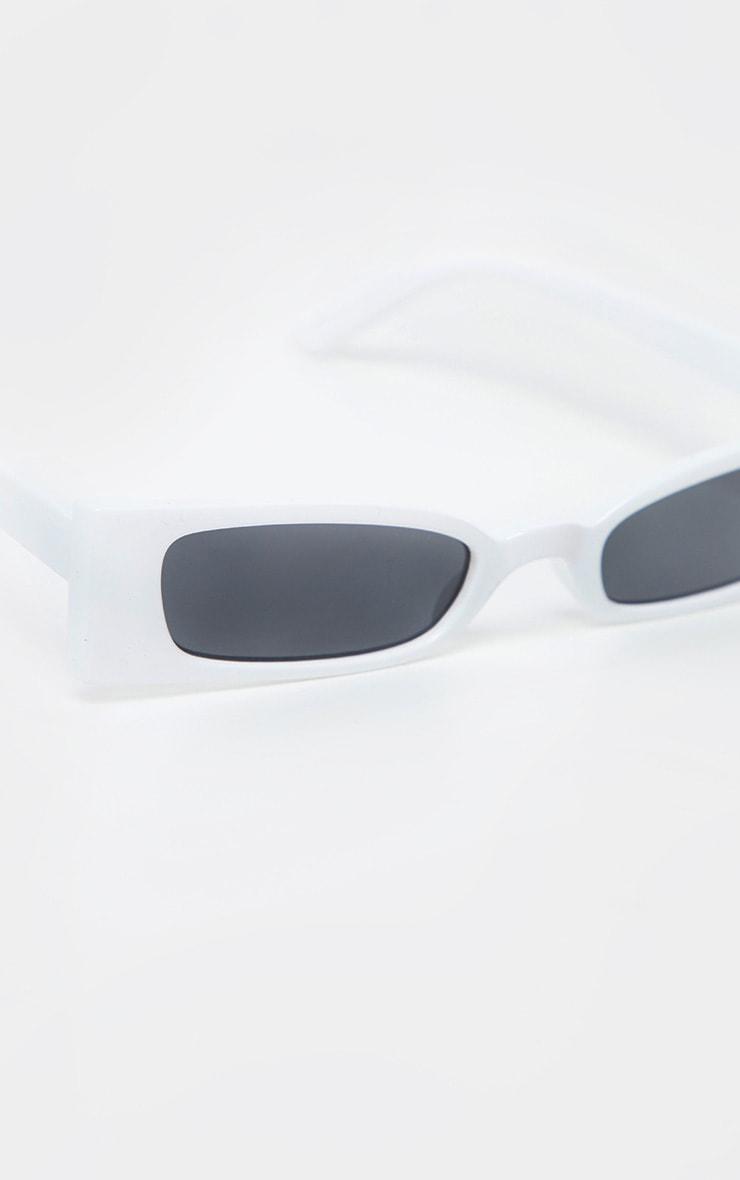 White Squashed Flat Rectangle Sunglasses 4