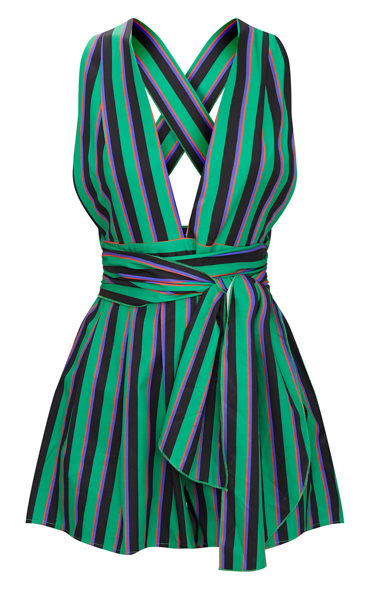 Green Stripe Tie Back Playsuit 3