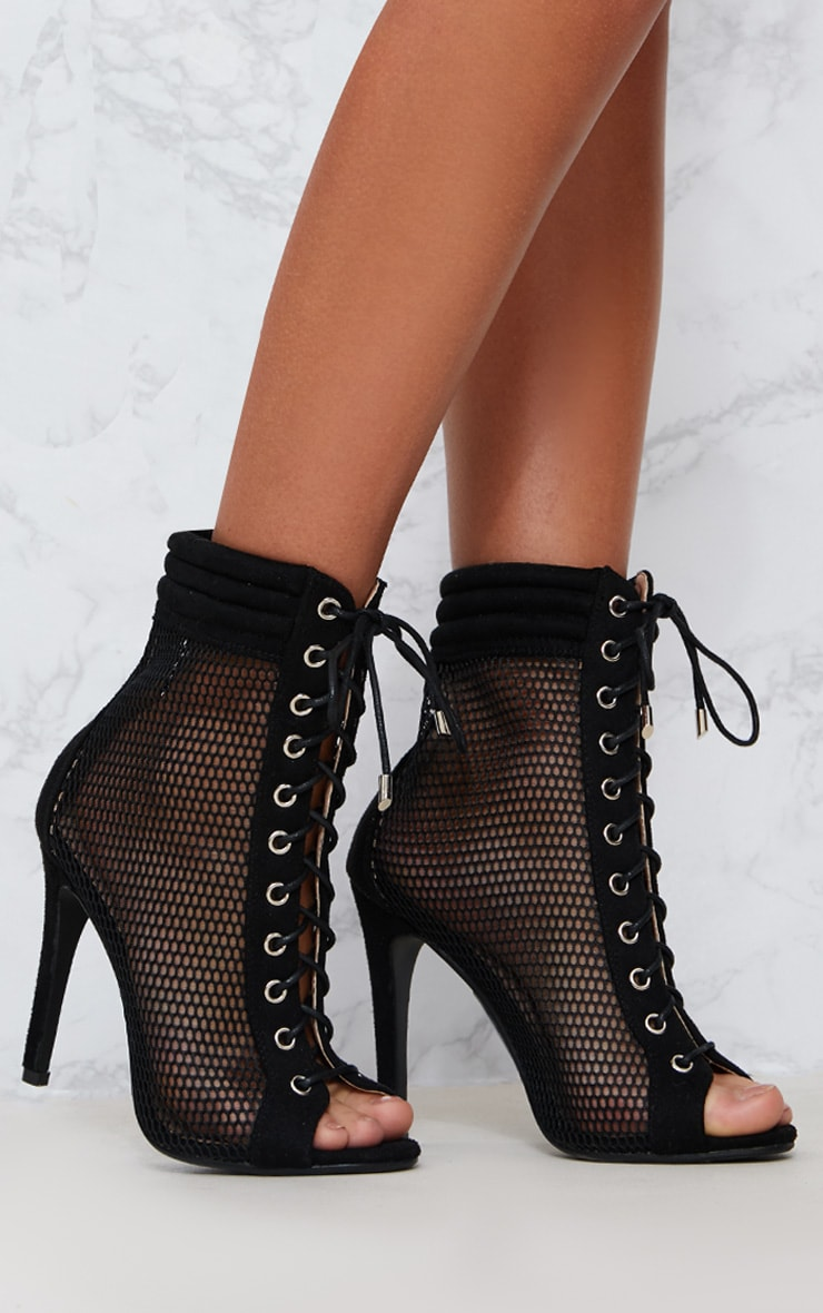 Black Lace Up Mesh Peep Toe Boot