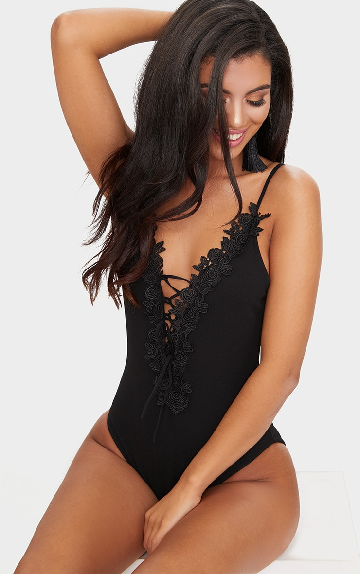 Black Crochet Lace Detail Bodysuit 6