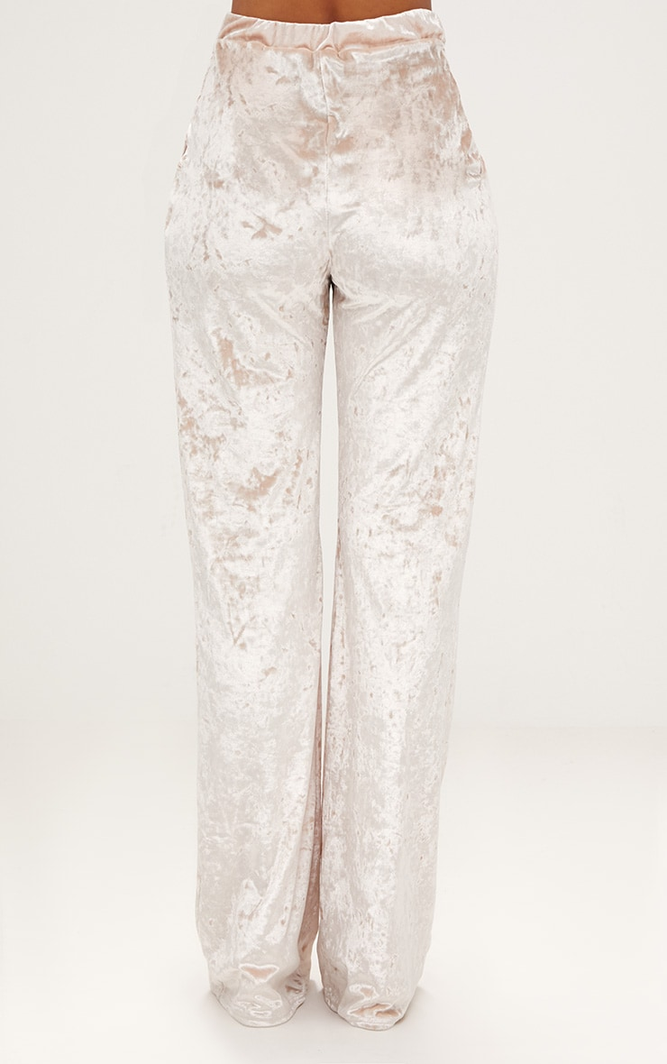 Champagne Crushed Velvet Wide Leg Suit Trousers 4