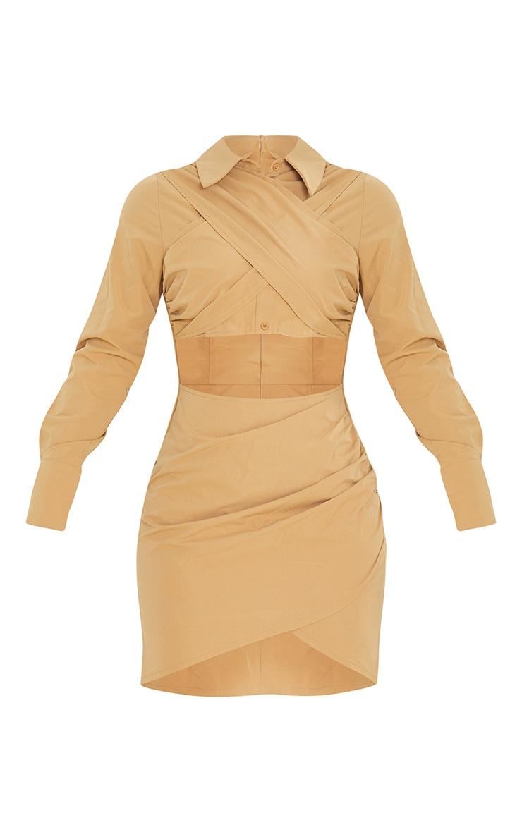Camel Drape Cross Front Cut Out Long Sleeve Shirt Dress 5