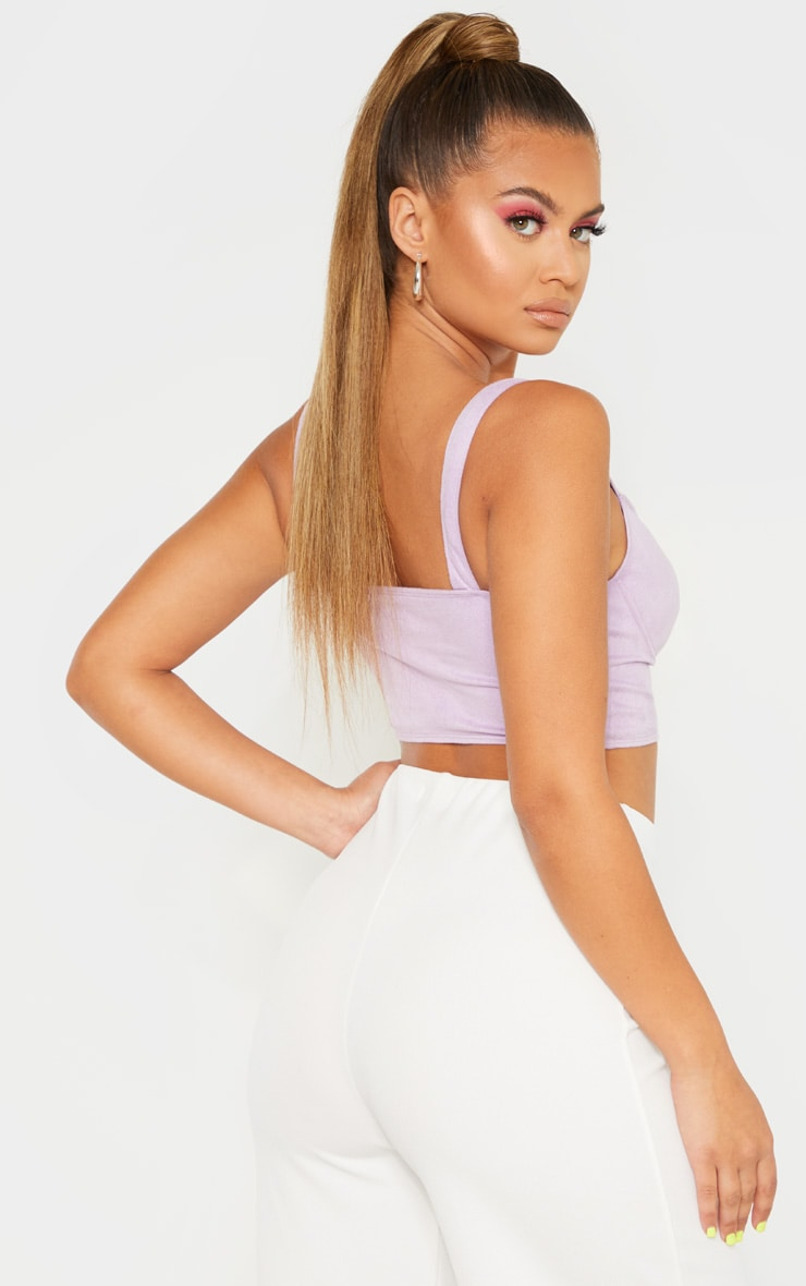 Lilac Suedette Crop Top 2