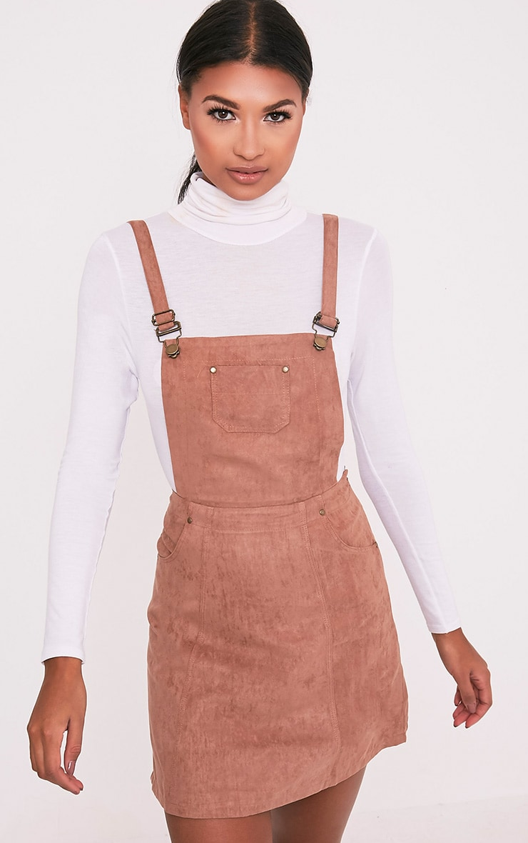 Lumie Tan Faux Suede Pinafore Dress 1